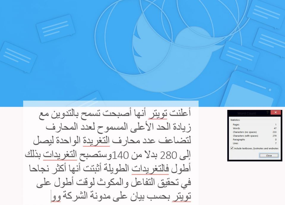 تويتر يرفع الحد الأقصى للتغريدة إلى 280 حرفا وقرابة 50 كلمة بالعربية