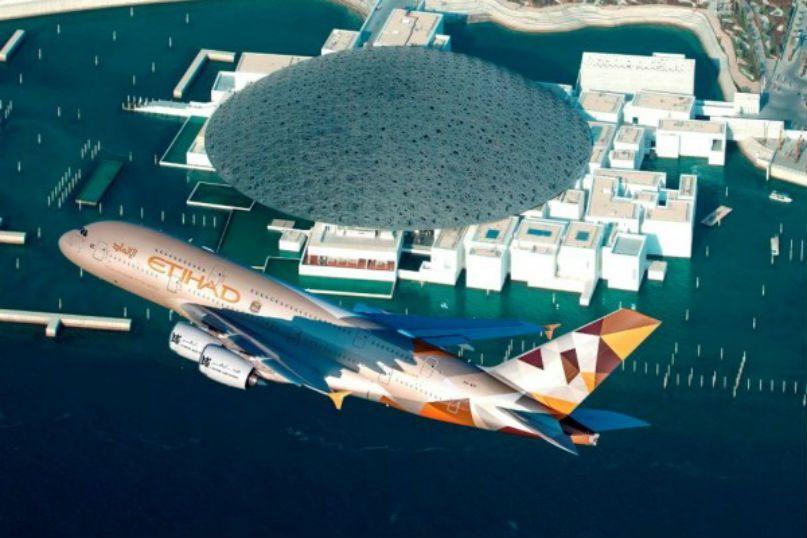 الاتحاد تحتفي بـافتتاح اللوفر أبوظبي بتحليق منخفض لطائرتها A380