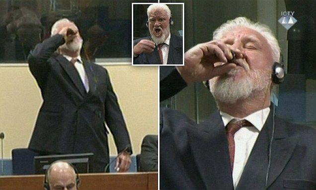 مجرم حرب وسفاح كرواتي يتناول السم في المحكمة