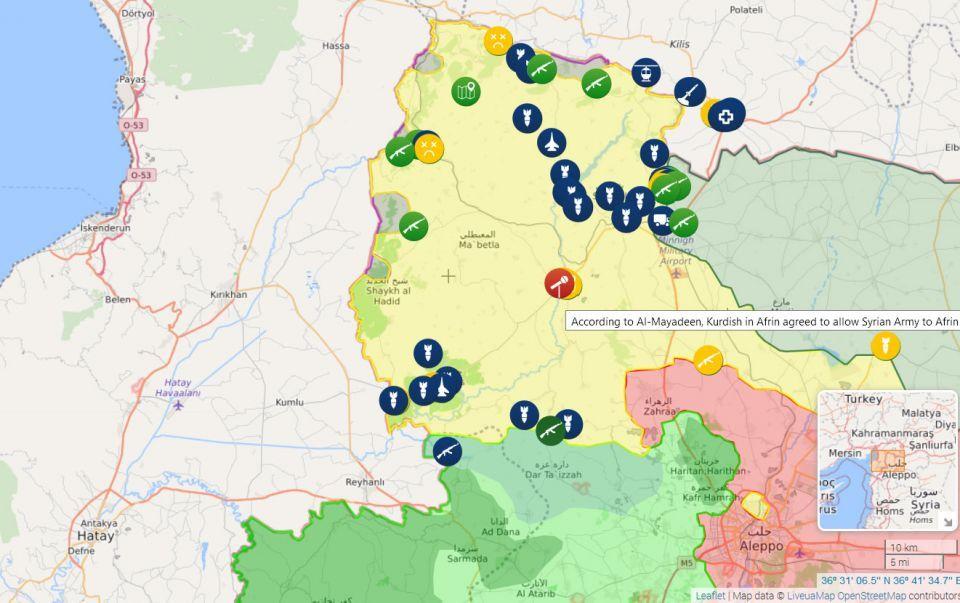 عفرين التي يديرها الأكراد تدعو الدولة السورية لحماية الحدود