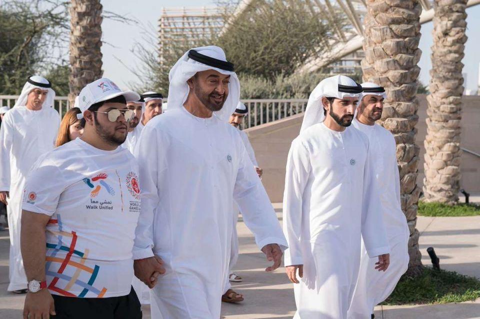 محمد بن زايد وحمدان بن محمد يشاركان في مبادرة نمشي معا