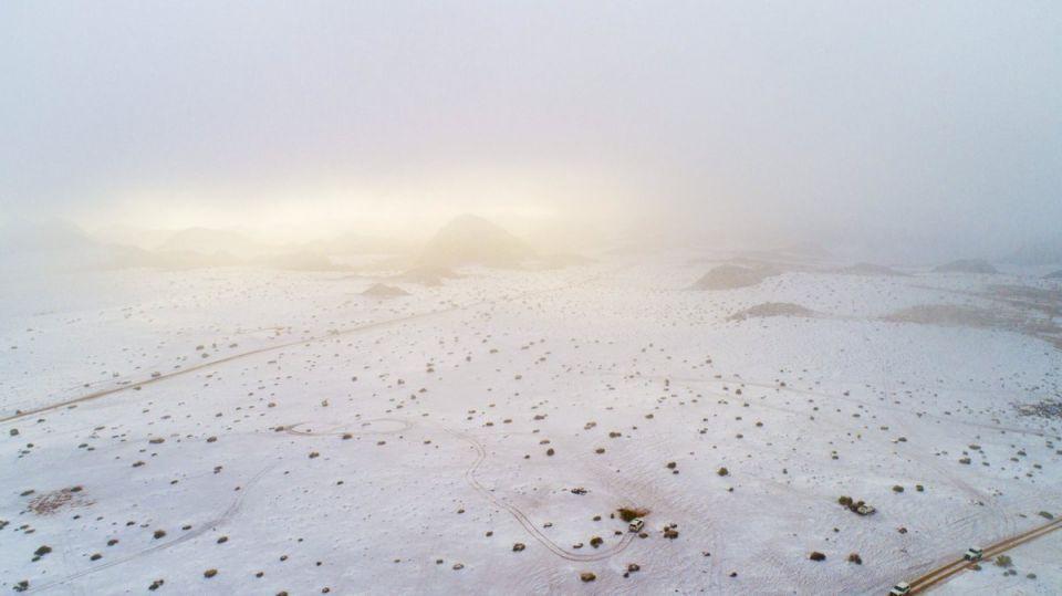 بالصور.. سعوديون يحتفلون بتساقط الثلوج على جبال تبوك