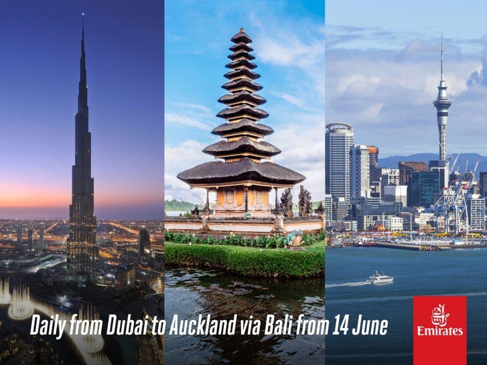 طيران الإمارات تطلق خدمة جديدة إلى أوكلاند عبر بالي يونيو 2018