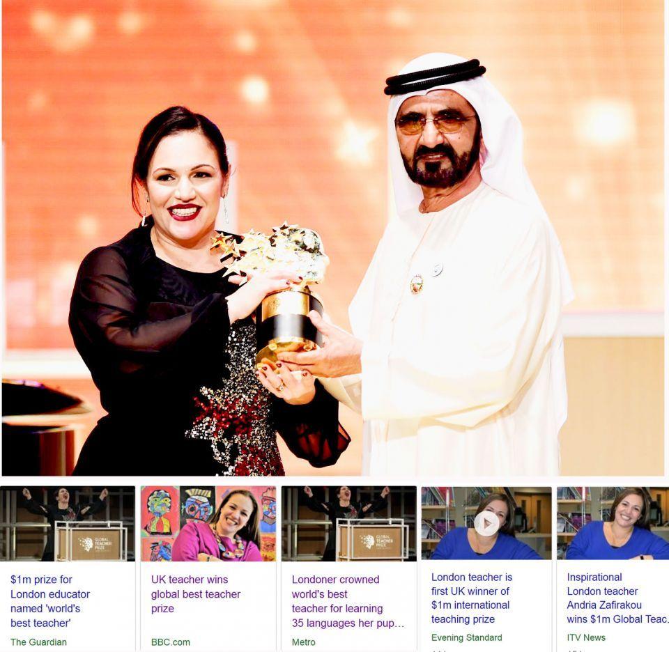أندريا، معلمة أتقنت التحية بـ 35 لغة لتخاطب طلابها والصحف البريطانية تحتفي بفوزها في دبي