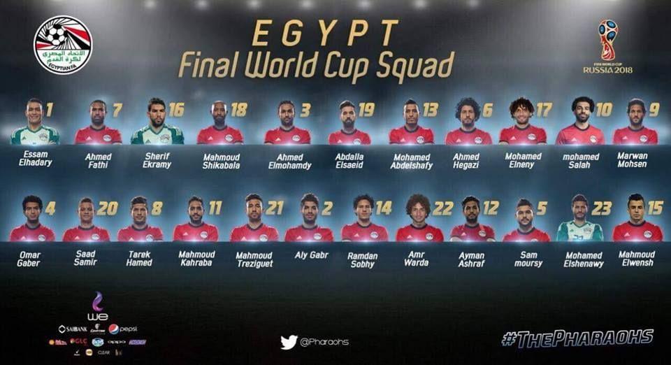 الإعلان عن تشكيلة المنتخب المصري في مونديال روسيا