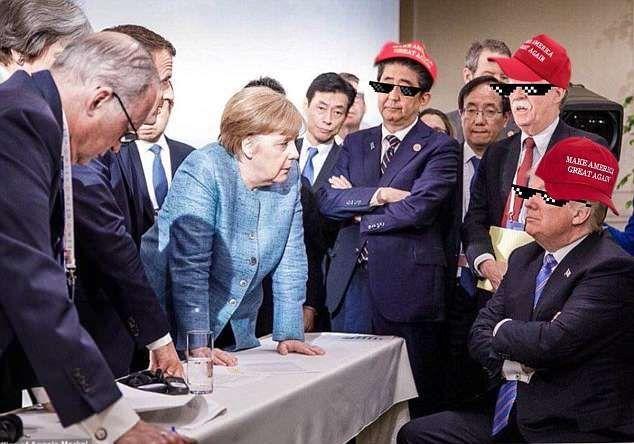 شاهد صورة غريبة لترامب وميركل أشعلت الإنترنت بالدعابة