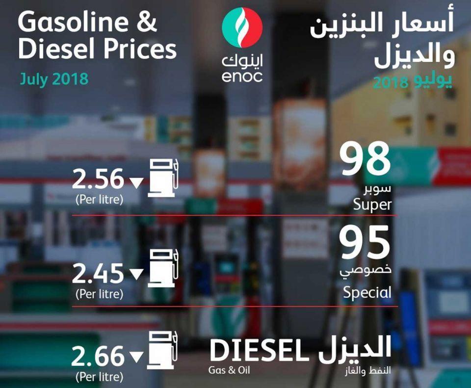 انخفاض أسعار البنزين والديزل في الإمارات لشهر يوليو 2018