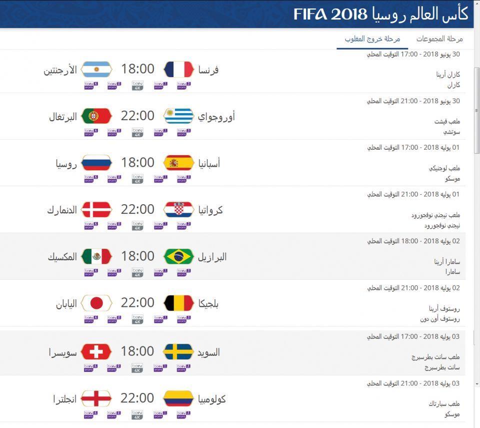 جدول مباريات كأس العالم دور الـ16 أريبيان بزنس