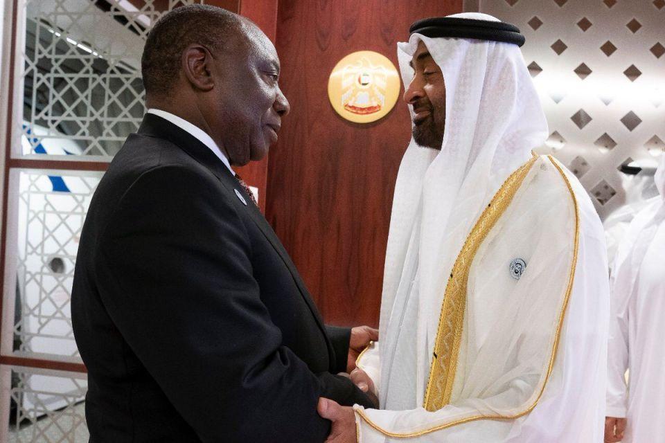 بالصور... محمد بن زايد يستقبل رئيس جنوب افريقيا