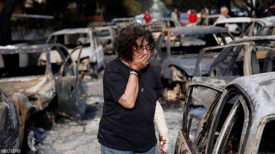 مقتل 74 شخصاً في حرائق غابات غير مسبوقة باليونان