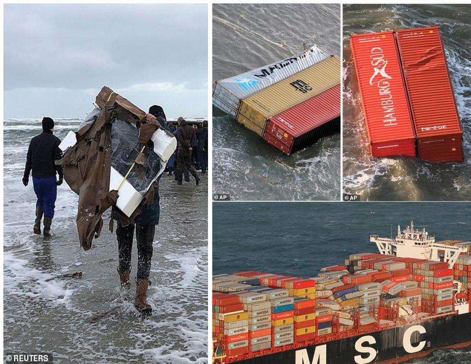 التحذير من نهب حاويات تحوي مادة خطرة  سقطت من سفينة في بحر الشمال
