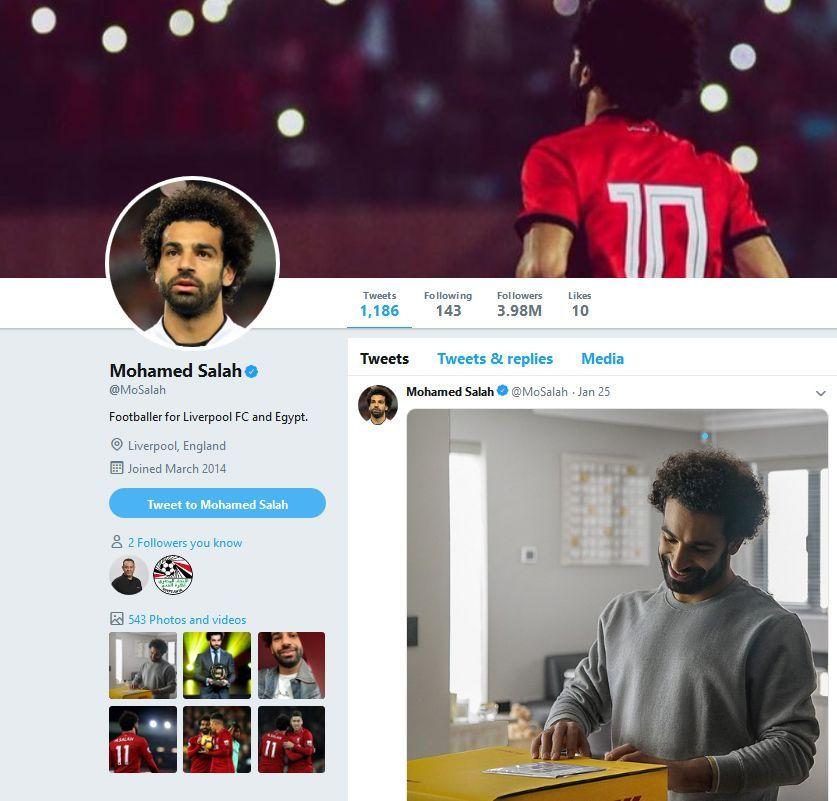 محمد صلاح يعود إلى تويتر ويستعيد متابعيه