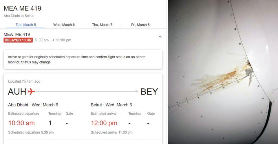 طيور تعطل طائرة متوقفة في مطار أبو ظبي برحلة متجهة إلى بيروت