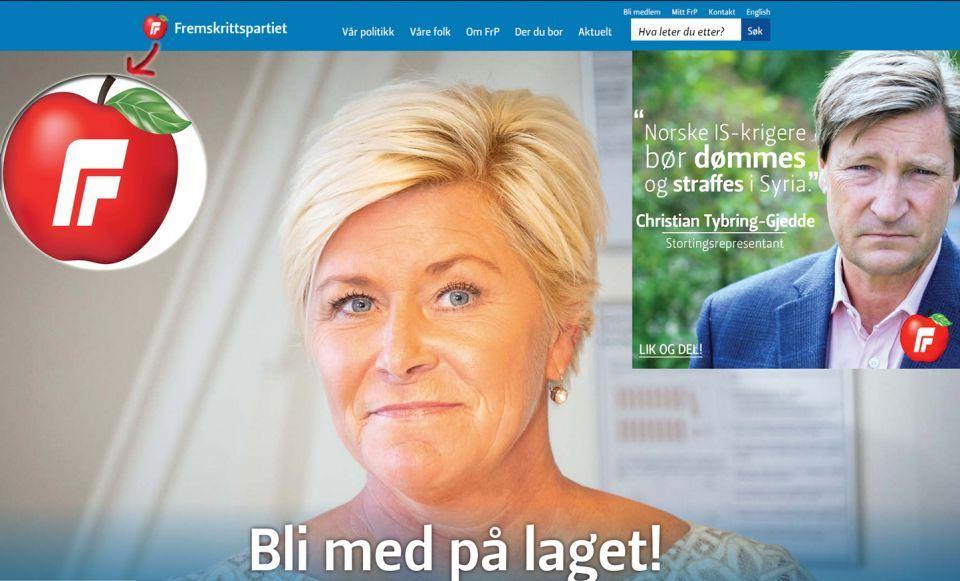 أبل تعترض على تفاحة في شعار حزب نرويجي