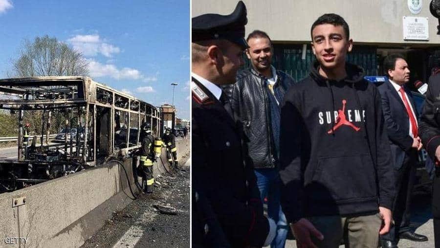 طفل مصري يمنع محرقة طلاب بباص مدرسي وإيطاليا تدرس منحه الجنسية