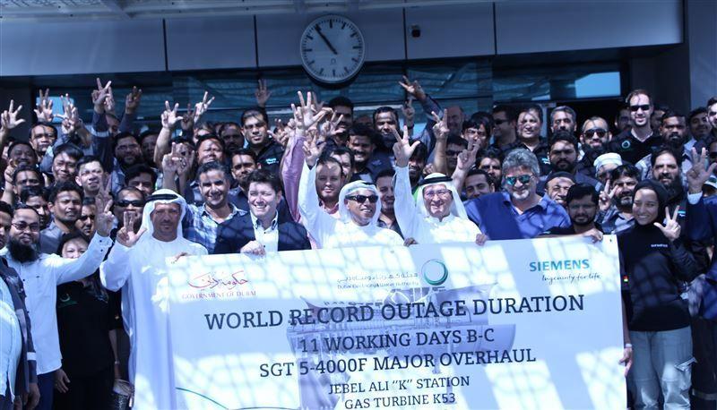 كهرباء دبي تحطم الرقم القياسي العالمي في فترة صيانة التوربينات الغازية