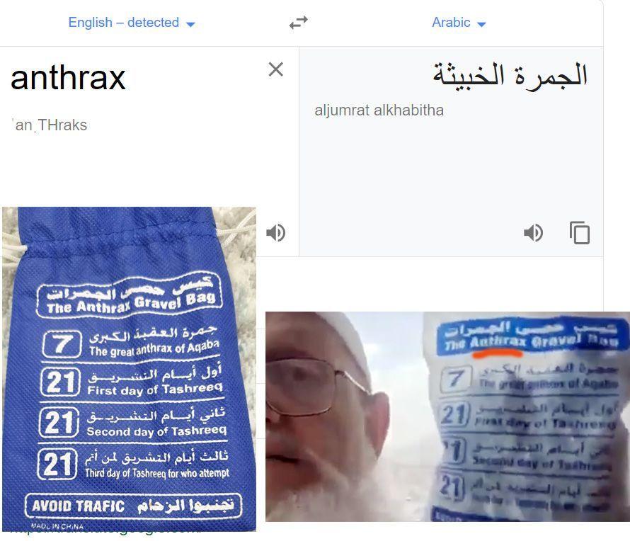 """هل هو خطأ خدمة ترجمة غوغل؟ التحقق بخطأ كتابة أكياس حصى رمي الجمرات بـ """"الجمرات الخبيثة"""" في الحج"""