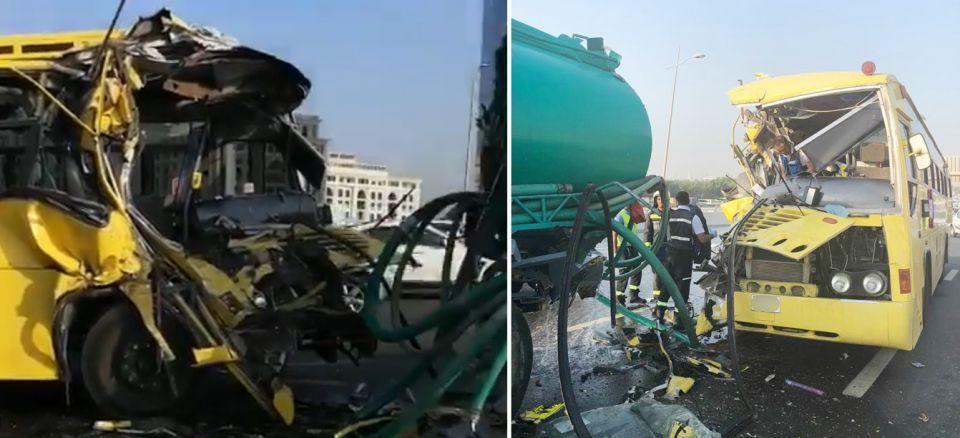 إصابة 15 طالب و3 مشرفات بإصابات متفرقة في حادث مروري بدبي