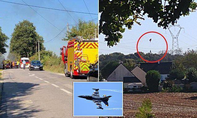 شاهد تحطم مقاتلة إف 16 وانتشال الطيار  بعد تشابك مظلته بخطوط التوتر العالي