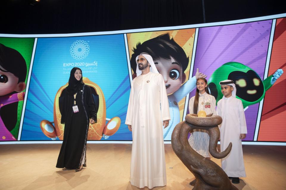بحضور محمد بن راشد.. إكسبو 2020 دبي يزيح الستار عن شخصيات الحدث