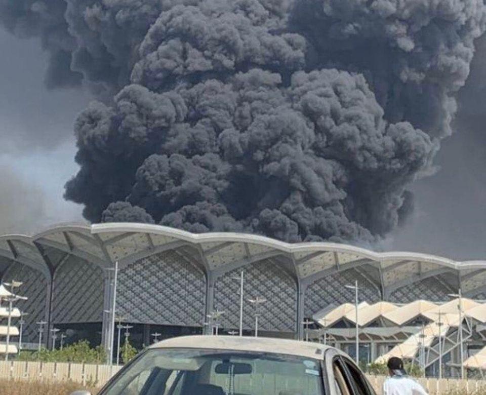 فيديو: اندلاع حريق في محطة قطار الحرمين بمدينة جدة السعودية