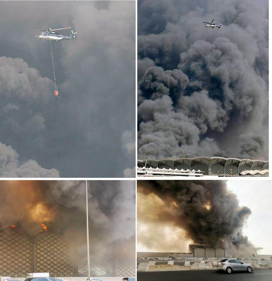 إصابة 11شخصا بحريق محطة قطار الحرمين