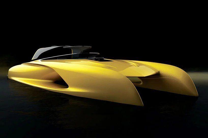 بالصور : مصمم بوغاتي الأسبق يصمم يختا مستوحى من سيارته المفضلة