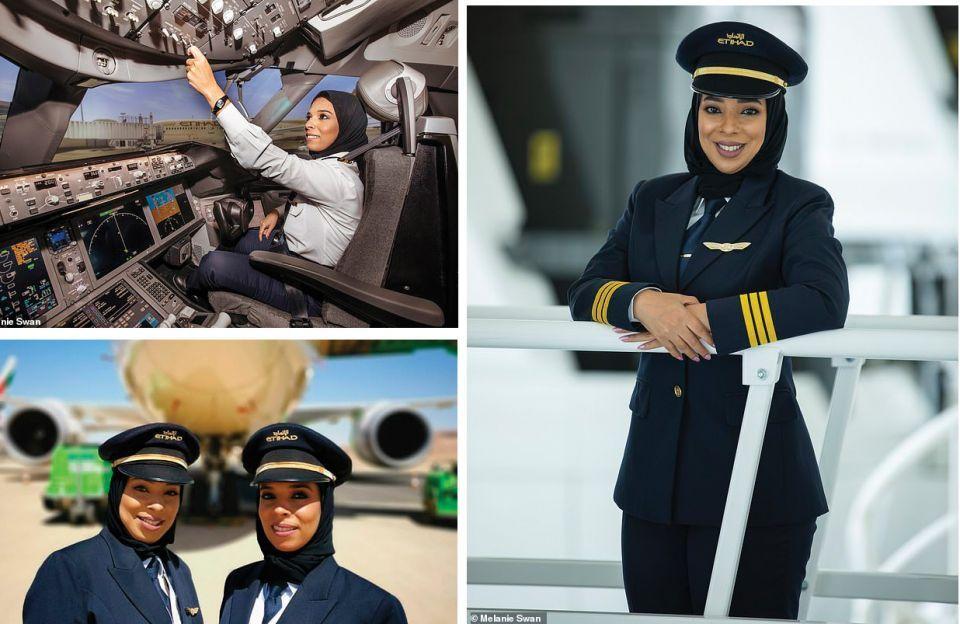 شاهدي الكابتن هدى المسلمي أول إماراتية تتولى مهام كابتن طائرة