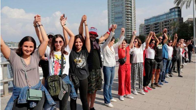 سلسلة بشرية في لبنان من الشمال ل الجنوب