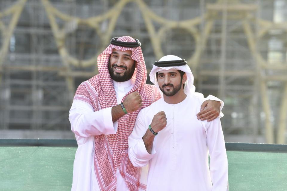 شاهد.. حمدان بن محمد ومحمد بن سلمان يزوران موقع اكسبو 2020 دبي