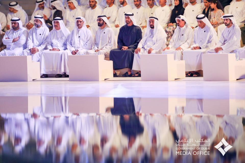 محمد بن راشد ومحمد بن زايد والحكام يشهدون مراسم «يوم الشهيد»