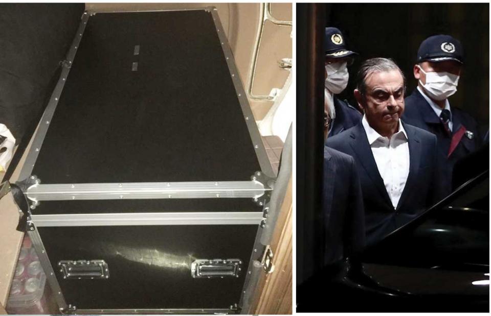 شاهد الصندوق الذي هرب فيه كارلوس غصن من اليابان
