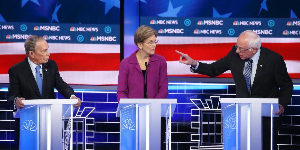 شكوك تهز وكالة أنباء بلومبرغ ومالكها  مايكل بلومبرغ خلال مناظرة المرشحين الديمقراطيين