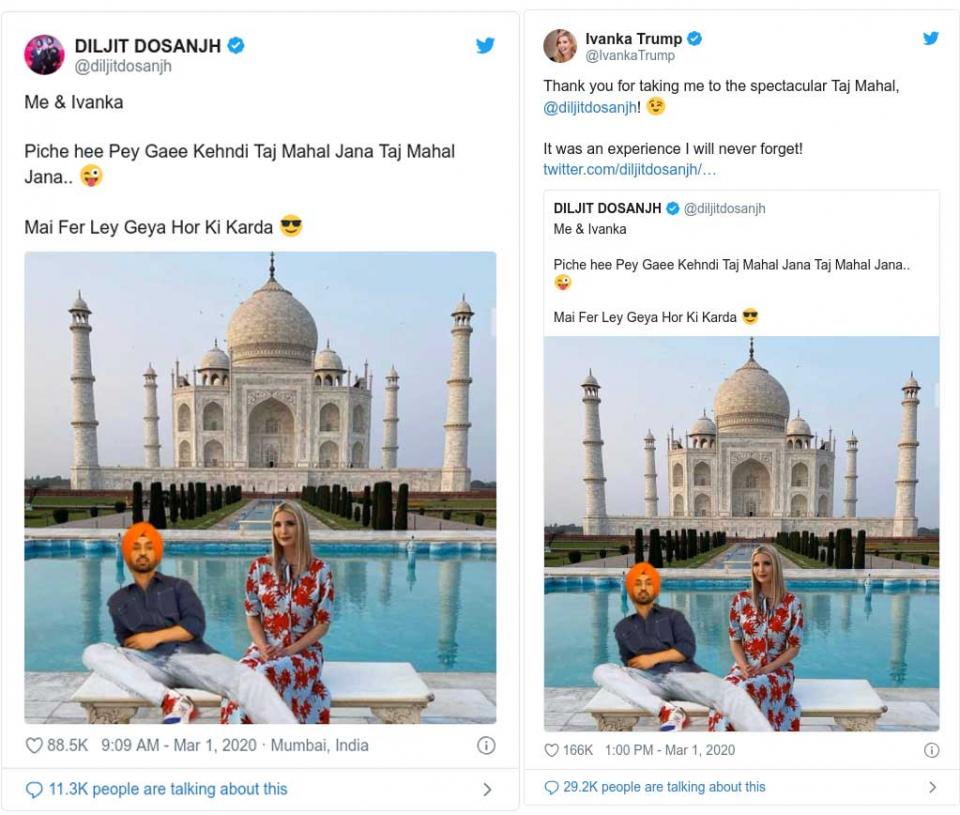 إيفانكا ترامب تتغزل بمغني هندي داعبها بصور مزورة