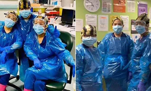 ممرضات يرتدين أكياس النفايات بمستشفى بريطاني يواجه عشرات الإصابات بفيروس كورونا المستجد