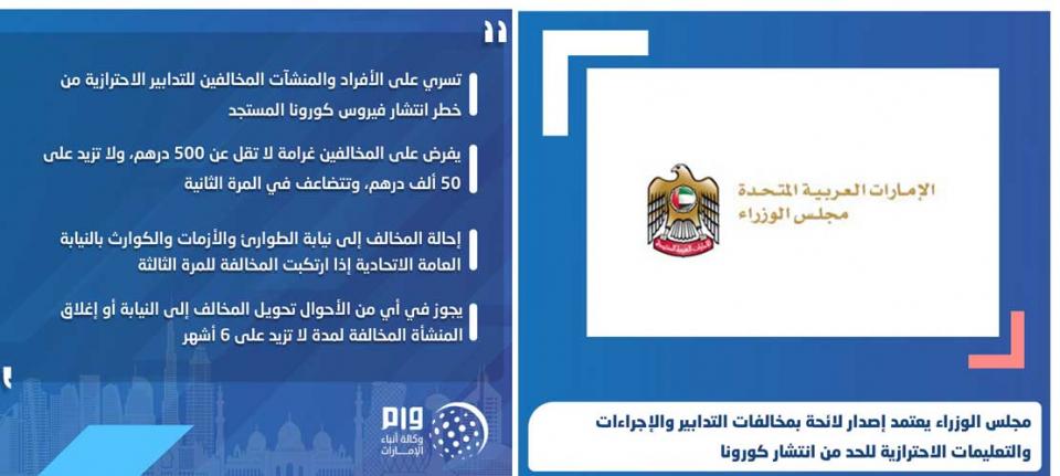 الإمارات : غرامة لا تقل عن 500 درهم، ولا تزيد على 50 ألف درهم لمخالفي تعليمات الحد من انتشار كورونا