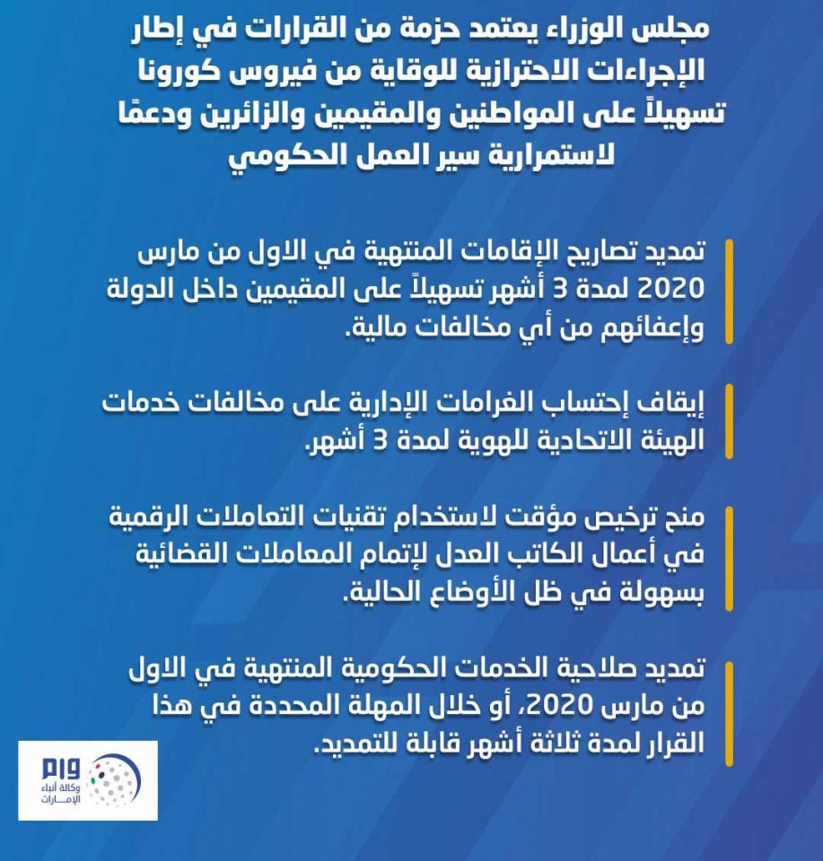 الإمارات: تمديد مجاني لـ3 أشهر للإقامات المنتهية في الاول من مارس 2020