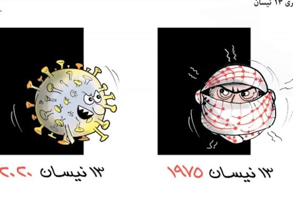 رسام كاريكاتير يشبه اللاجئين بفيروس كورونا