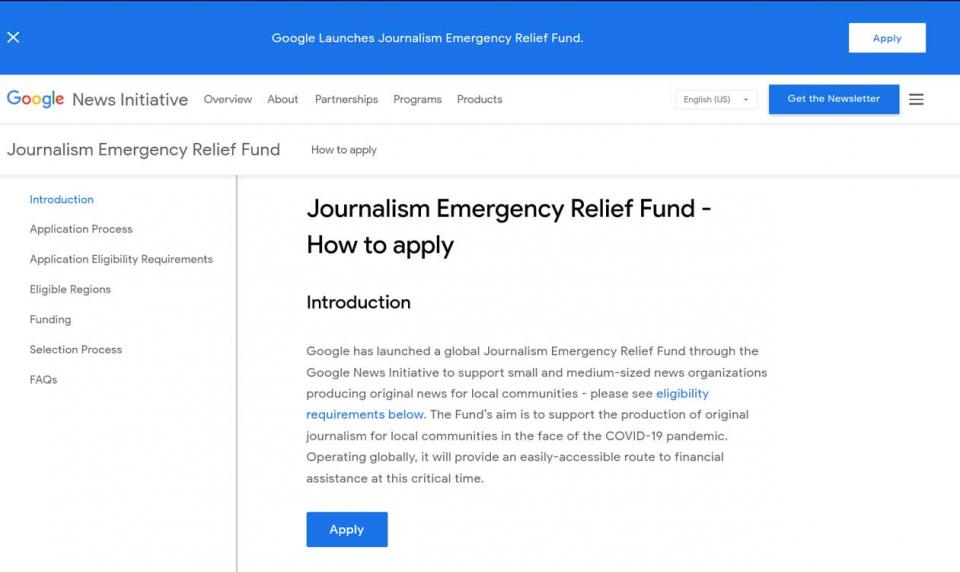 صندوق مالي طارئ يشمل الدول العربية من غوغل لمساعدة الإعلام الإخباري في أزمة كورونا