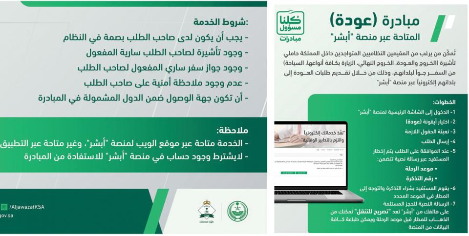 السعودية تساعد الوافدين للعودة إلى بلادهم عبر منصة أبشر لت