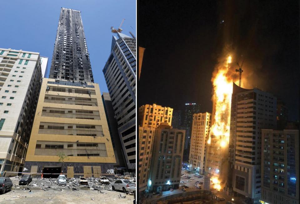 سيجارة أو جمرة وراء حريق برج أبكو في الشارقة