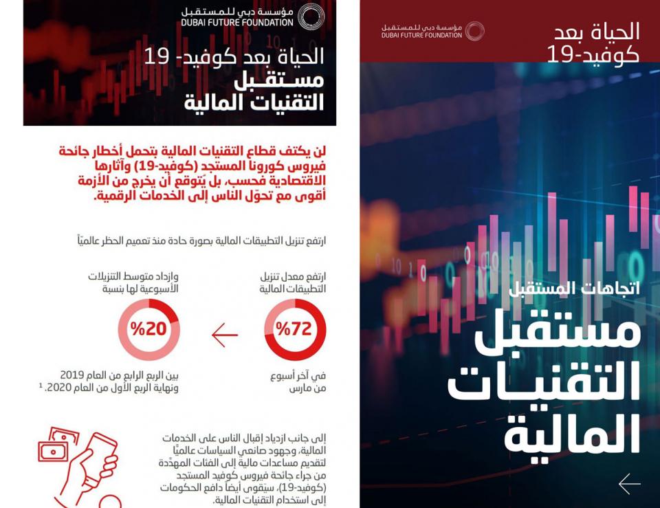 مؤسسة دبي للمستقبل: التكنولوجيا المالية تسجل نمواً متسارعاً في المنطقة