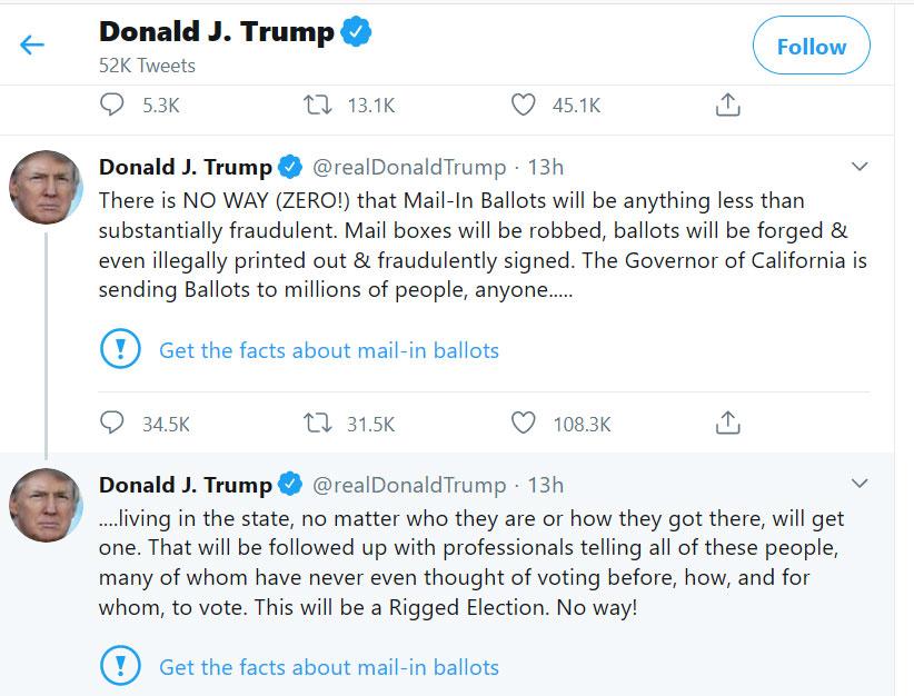 ترامب يهاجم تويتر لأنه اعتبر تغريدة الرئيس مضلّلة