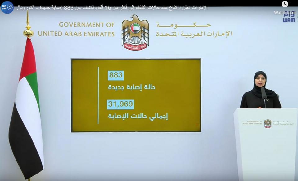 الإمارات تحذر، كورونا المستجد لم ينتهي بعد مع الكشف عن 883 حالة إصابة جديدة