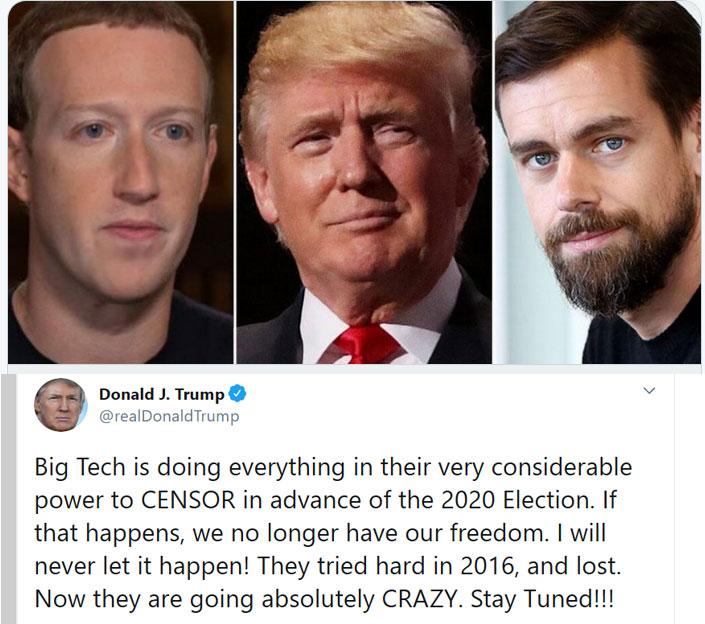 ترامب يهدد بإغلاق  الشبكات الاجتماعية بسبب رقابة تويتر وفيسبوك يؤيده