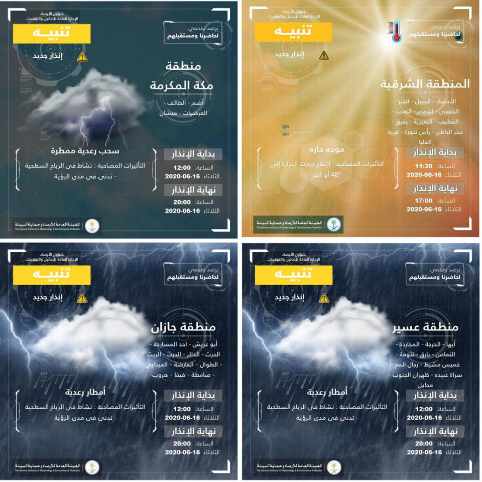 موجة حر قوية تجتاح السعودية بداية من  اليوم وتحذيرات من تدني الرؤية في بعض المناطق