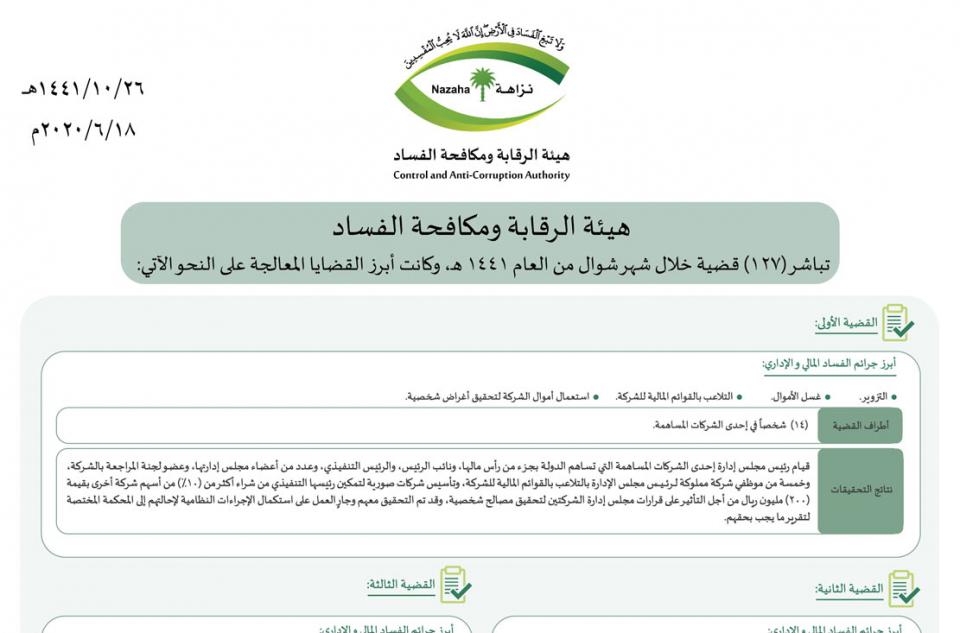 السعودية: اتهام رجل أعمال بتلقي رشوى  6 ملايين ريال لتسهيل  عقد حكومي