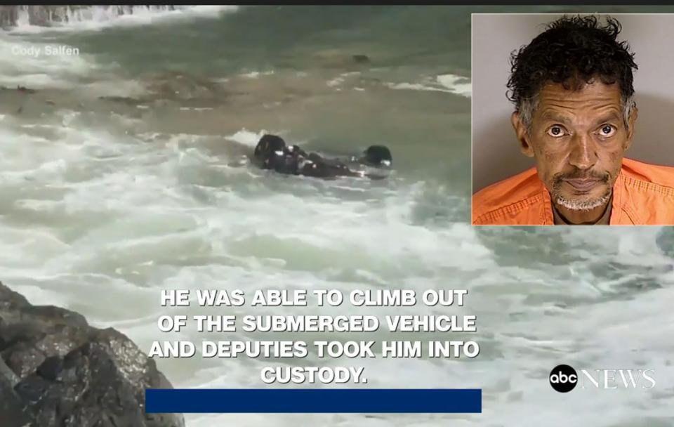 شاهد مطاردة لص سيارة تنتهي في المحيط الهادي