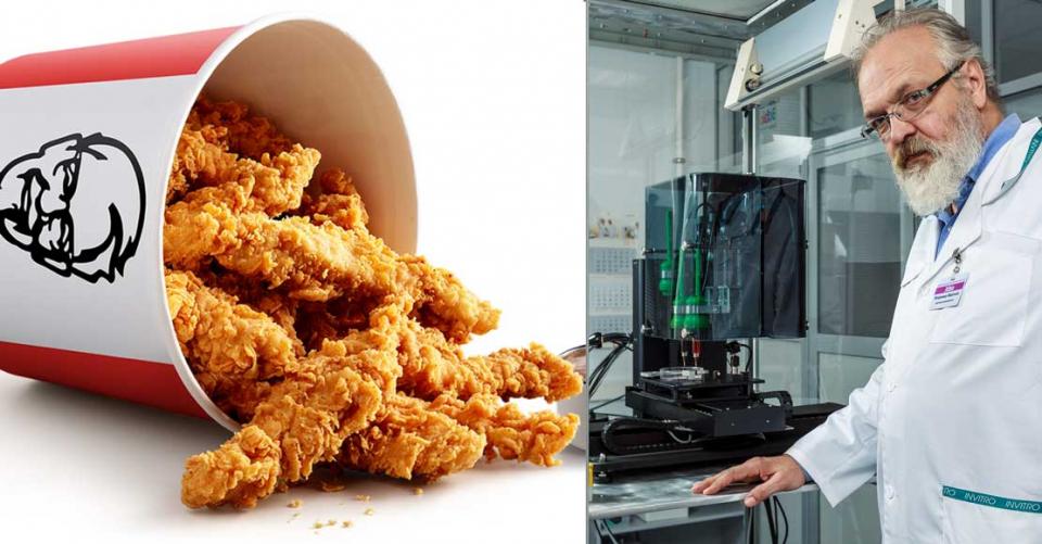 """مطاعم دجاج""""كنتاكي""""تختبر وجبة دجاح بدون عظام تولدها طابعة ثلاثية الأبعاد"""