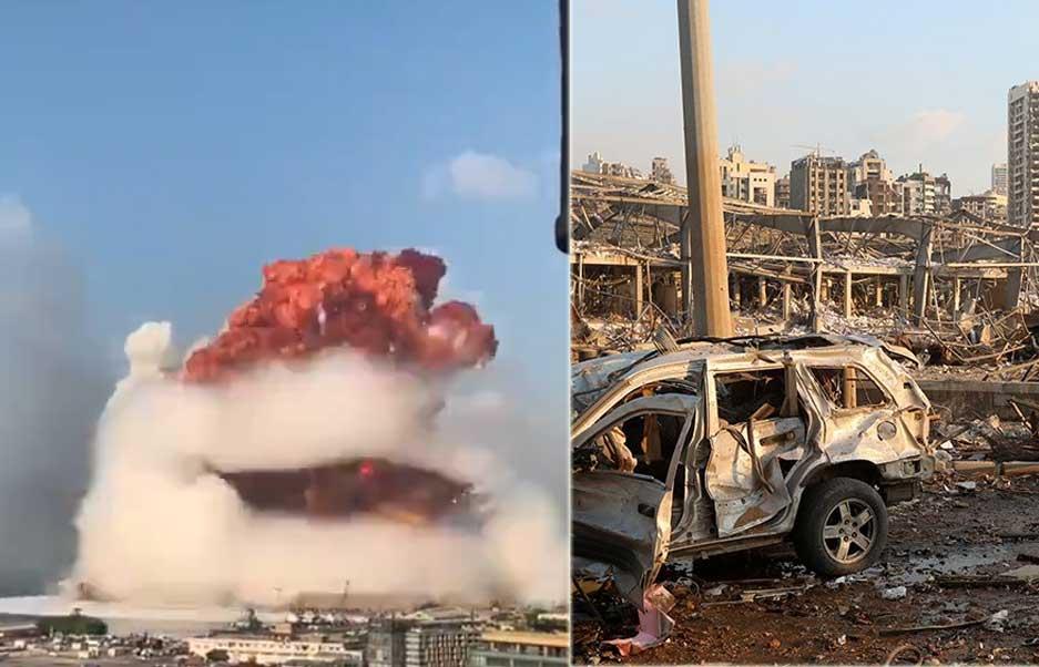 شاهد انفجار نتيجة خطأ كارثي في تخزين 2750 طنا من نترات الأمونيوم يلحق دمارا ببيروت